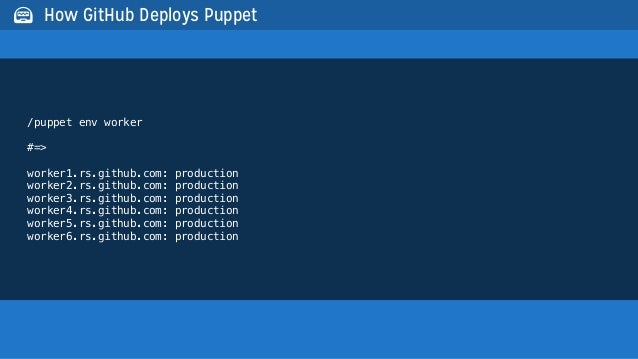 /puppet env worker#=>worker1.rs.github.com: productionworker2.rs.github.com: productionworker3.rs.github.com: productionwo...