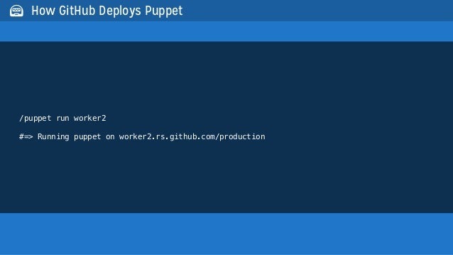 /puppet run worker2#=> Running puppet on worker2.rs.github.com/production How GitHub Deploys Puppet