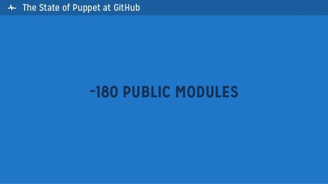 The State of Puppet at GitHub~180 PUBLIC MODULES