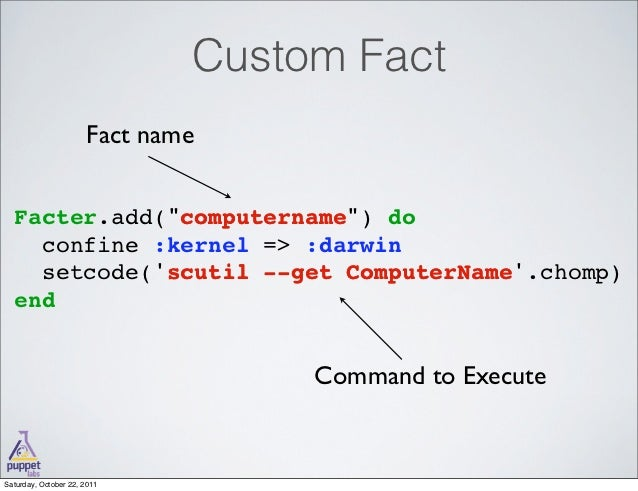 writing custom facts puppet You may want to set custom puppet facts in your development  run the inline  shell to create those facts shellinline = #{shell_cmd} end.