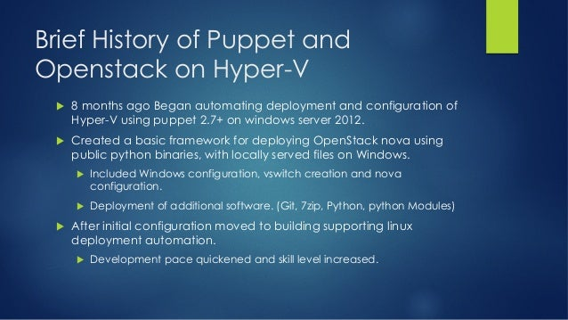 Using Puppet for Deploying Hyper-V OpenStack Compute Nodes