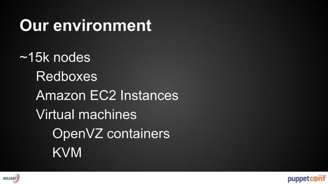 Our environment  ~15k nodes  Redboxes  Amazon EC2 Instances  Virtual machines  OpenVZ containers  KVM