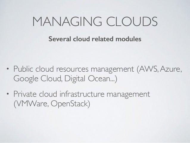 MANAGING CLOUDS • Public cloud resources management (AWS,Azure, Google Cloud, Digital Ocean...) • Private cloud infrastruc...
