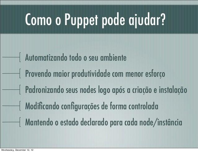 Como o Puppet pode ajudar?                   Automatizando todo o seu ambiente                   Provendo maior produtivid...