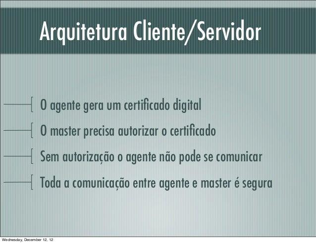 Arquitetura Cliente/Servidor                   O agente gera um certificado digital                   O master precisa auto...