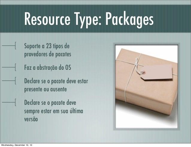 Resource Type: Packages                   Suporte a 23 tipos de                   provedores de pacotes                   ...