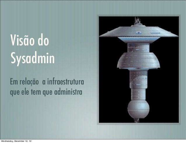 Visão do        Sysadmin       Em relação a infraestrutura       que ele tem que administraWednesday, December 12, 12