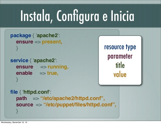 Instala, Configura e Inicia         package { apache2:           ensure => present,           }                            ...