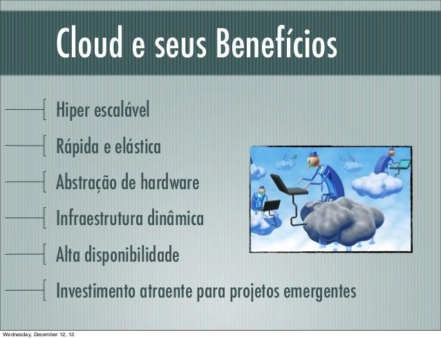 Cloud e seus Benefícios                   Hiper escalável                   Rápida e elástica                   Abstração ...