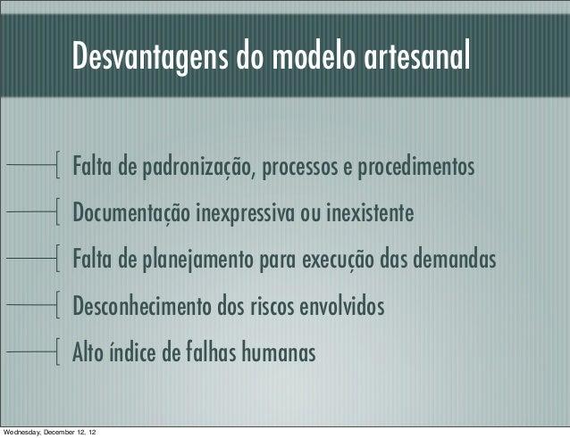 Desvantagens do modelo artesanal                   Falta de padronização, processos e procedimentos                   Docu...