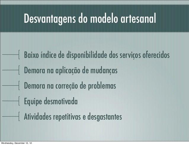 Desvantagens do modelo artesanal                   Baixo índice de disponibilidade dos serviços oferecidos                ...