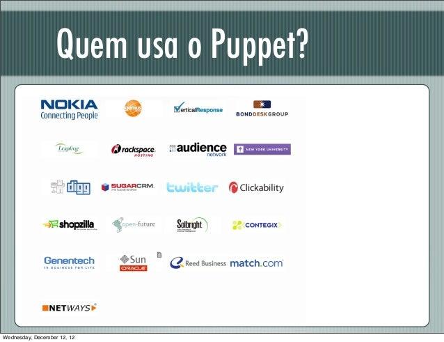 Quem usa o Puppet?Wednesday, December 12, 12