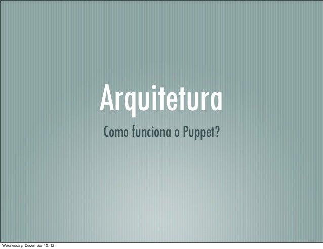 Arquitetura                             Como funciona o Puppet?Wednesday, December 12, 12