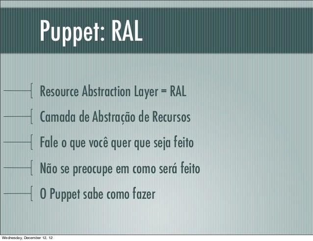 Puppet: RAL                   Resource Abstraction Layer = RAL                   Camada de Abstração de Recursos          ...