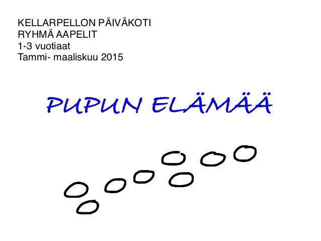 KELLARPELLON PÄIVÄKOTI RYHMÄ AAPELIT 1-3 vuotiaat Tammi- maaliskuu 2015 PUPUN ELÄMÄÄ