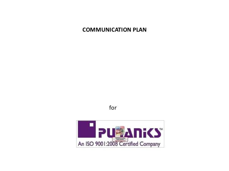 COMMUNICATION PLAN       for