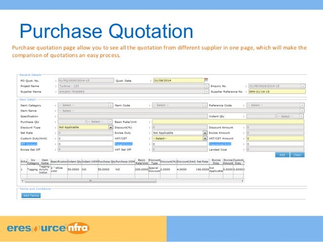 Eresource Nfra Erp - Purchase Module