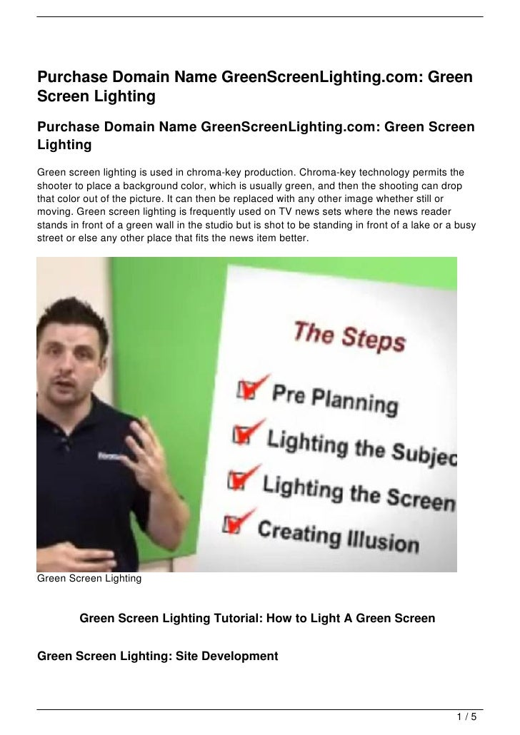 Purchase Domain Name GreenScreenLighting.com: GreenScreen LightingPurchase Domain Name GreenScreenLighting.com: Green Scre...