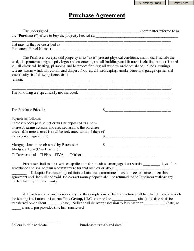 Submit by Email         Print Form                                      Purchase Agreement       The undersigned _________...