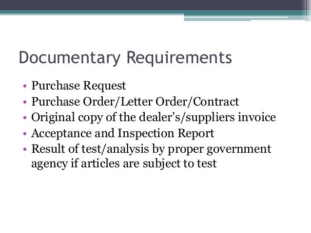 ... Technical Inspector; 35. Documentary Requirements U2022 Purchase Request ...  Letter Of Purchase Request
