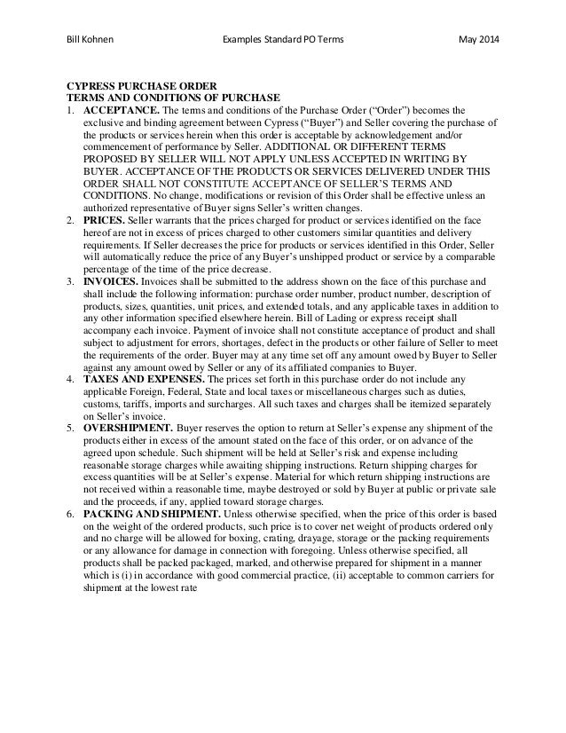terms and conditions for purchase order template  Purchase Order Boilerplate/Standard Terms Examples