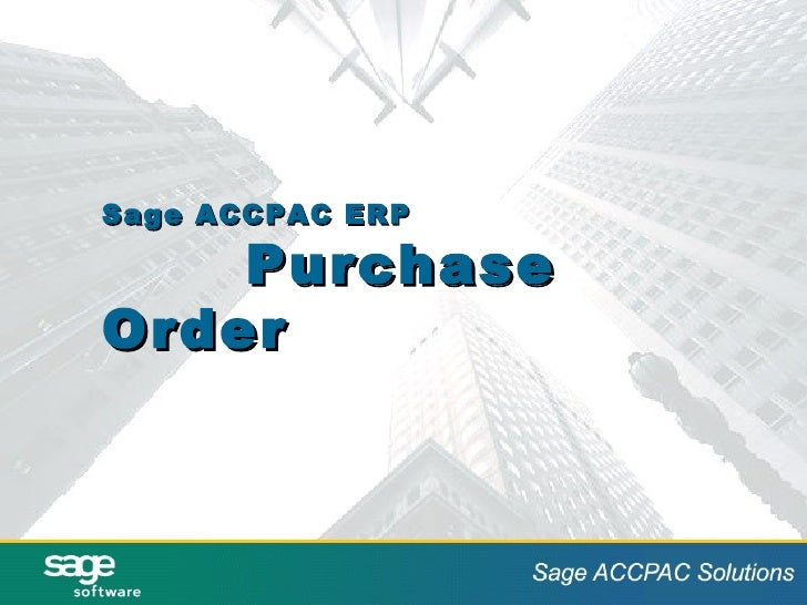 Sage ACCPAC ERP Purchase Order