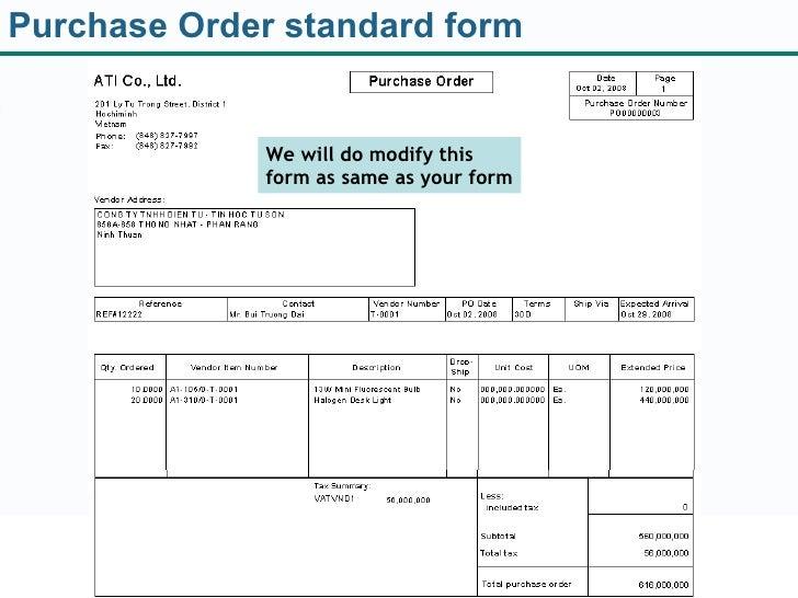standard purchase order form