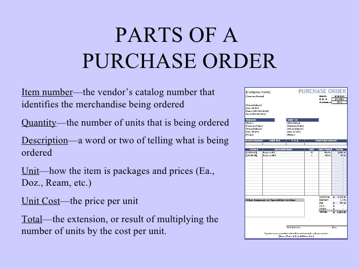3. PARTS OF A PURCHASE ORDER ...