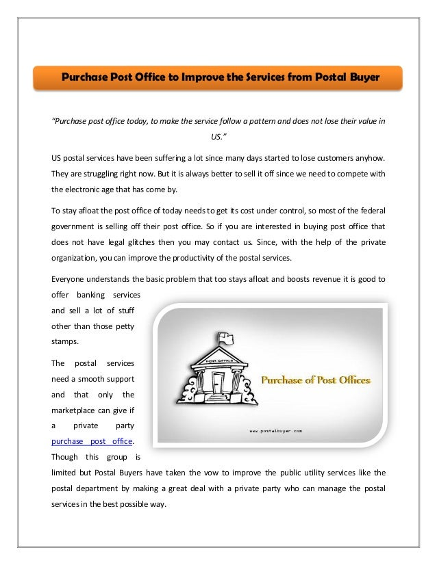 purchase post office to improve the services from postal buyer
