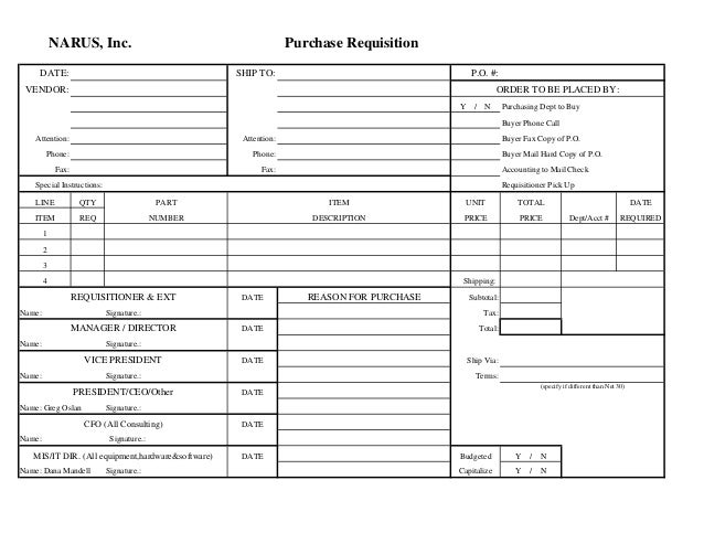 Purchase Requisition Form – Requisition Form