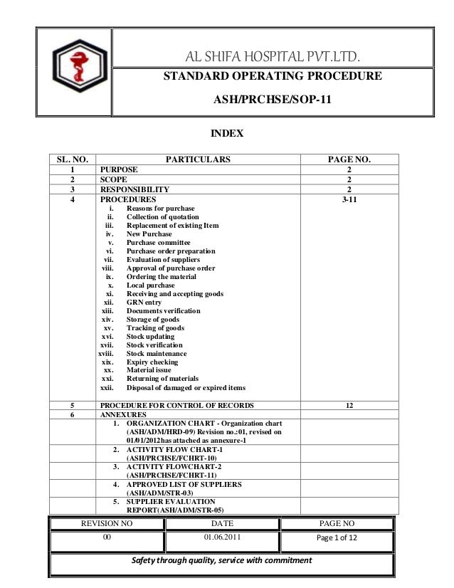 AL SHIFA HOSPITAL PVT.LTD. STANDARD OPERATING PROCEDURE ASH/PRCHSE/SOP-11 INDEX SL. NO. 1 2 3 4  PARTICULARS PURPOSE SCOPE...