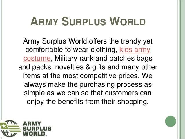 Purchase the Best Quality Kids Army Costume at Army Surplus