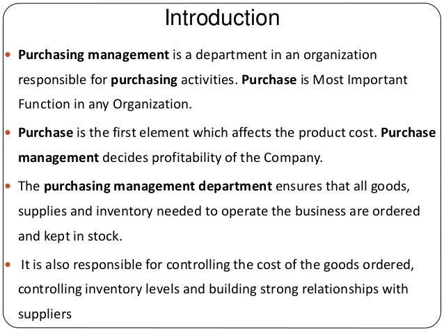 importance of purchasing department in an organisation