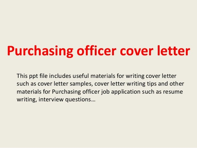 Purchasing officer cover letter