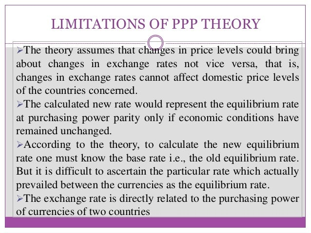the implications of the ppp theory 28 bank of canada review • autumn 2002 ppp as a theory of exchange rate determination while the origins of the ppp concept can be traced back to.