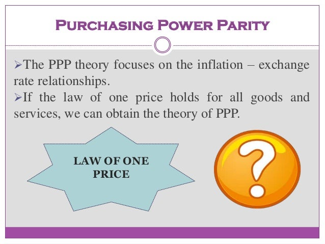 parity inflation and exchange rate C five parity conditions result from these arbitrage activities 1  if exchange  rates adjust to inflation differential, ppp states that real exchange rates stay the.
