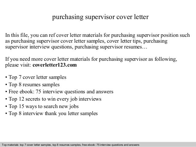 purchasing supervisor cover letter in this file you can ref cover letter materials for purchasing