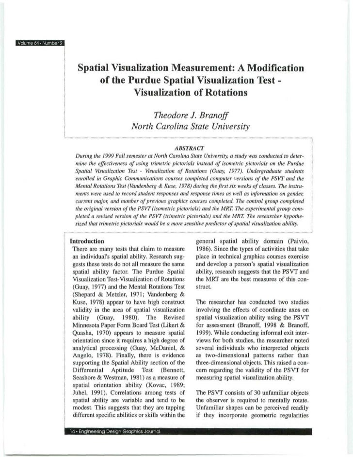 Volume 64 • Number 2                          Spatial Visualization Measurement: A Modification                           ...
