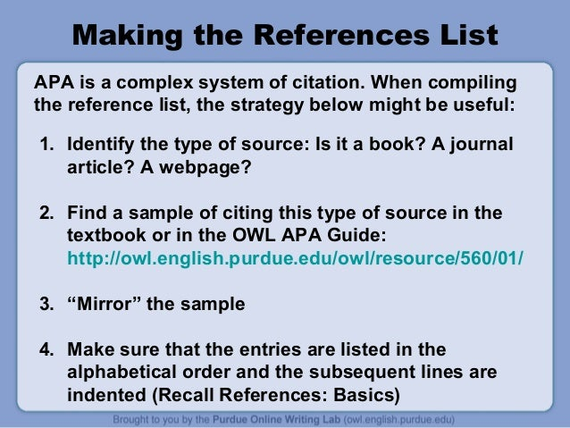 apa style purdue owl Citation machine™ helps students and professionals properly credit the information that they use cite sources in apa, mla, chicago, turabian, and harvard for free.