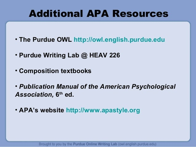 purdue owl apa style Apa style 2 the paper itself purdue online writing lab: washington, dc: american psychological association.