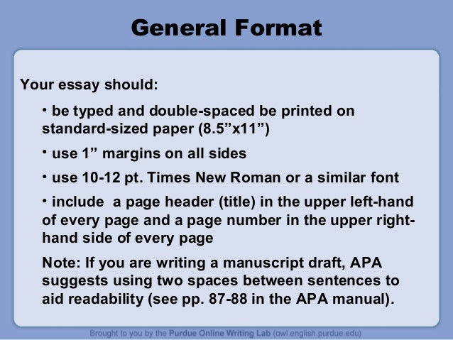 purdue essay example. publication manual 7 general format your, Presentation templates