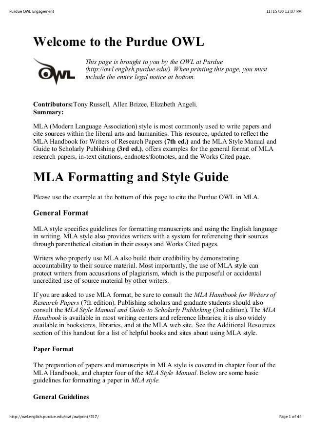 owl purdue english research paper Welcome to the purdue owl purdue owl all research papers on literature use mla format.