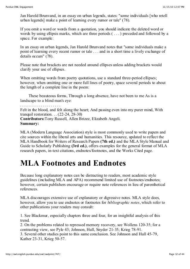 endnotes vs bibliography mla
