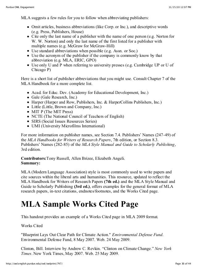 mla citation format footnotes