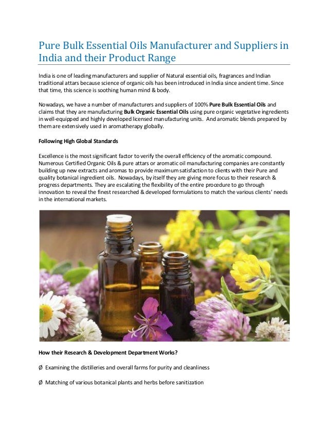 Pure Bulk Essential Oils Manufacturer and Suppliers in India and thei…