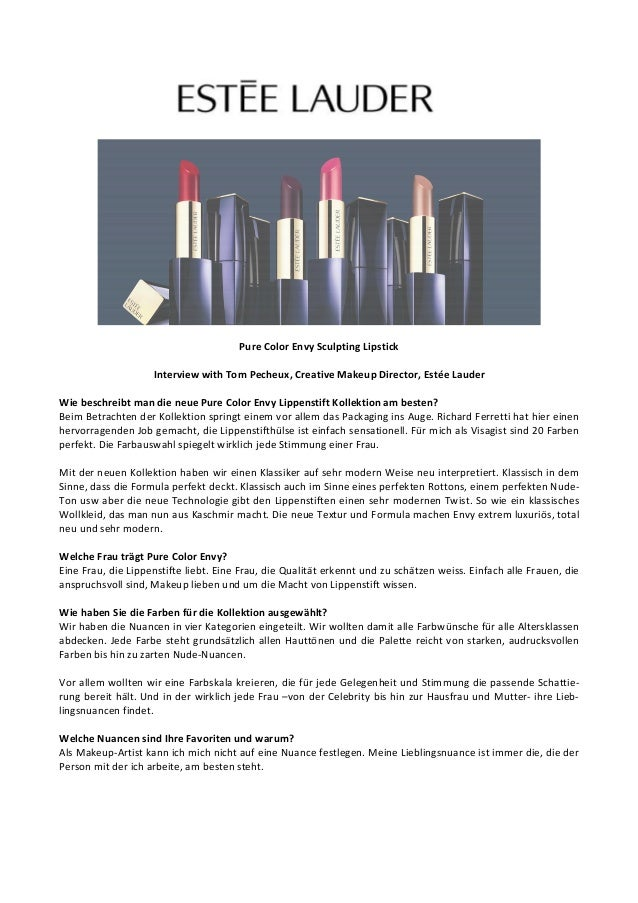 PureColorEnvySculptingLipstick  InterviewwithTomPecheux,CreativeMakeupDirector,EstéeLauder  Wie...
