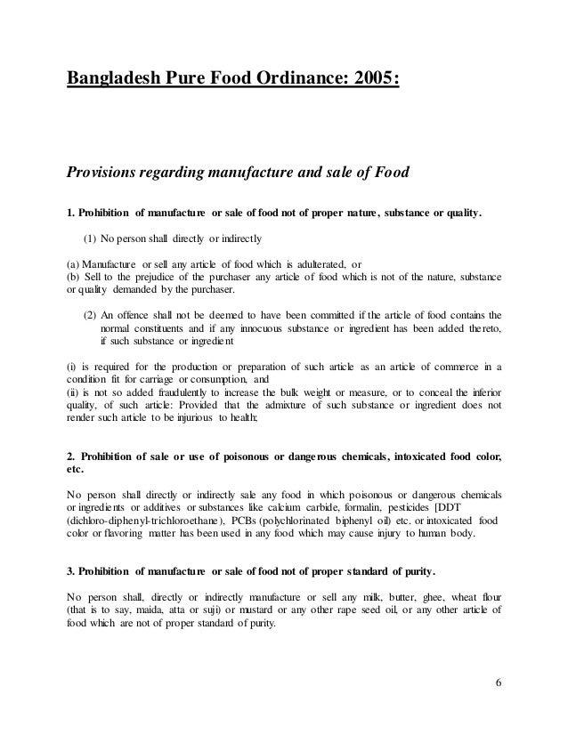 bangladesh pure food ordinance 2005 Food safety act, 2013 country/territory  pure food ordinance 1959 (ep  ordinance no lxviii of 1959) legislation   bangladesh   1959 (2005)    repealed.