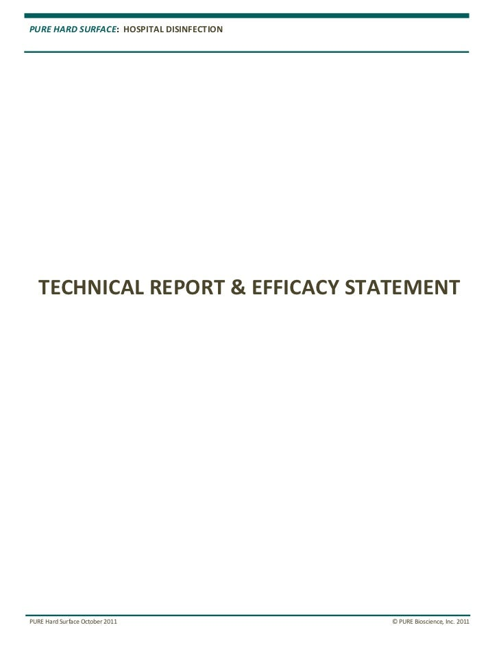 PURE HARD SURFACE: HOSPITAL DISINFECTION   TECHNICAL REPORT & EFFICACY STATEMENTPURE Hard Surface October 2011            ...