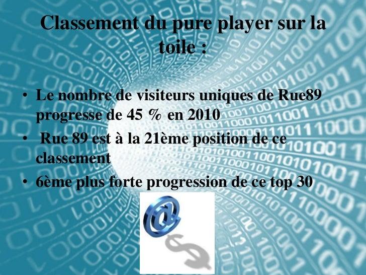 Classement du pure player sur la              toile :• Le nombre de visiteurs uniques de Rue89  progresse de 45 % en 2010•...