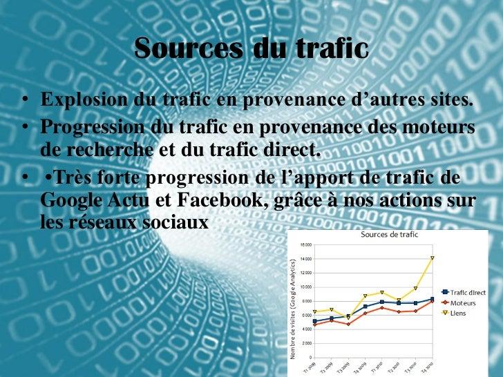 Sources du trafic• Explosion du trafic en provenance d'autres sites.• Progression du trafic en provenance des moteurs  de ...